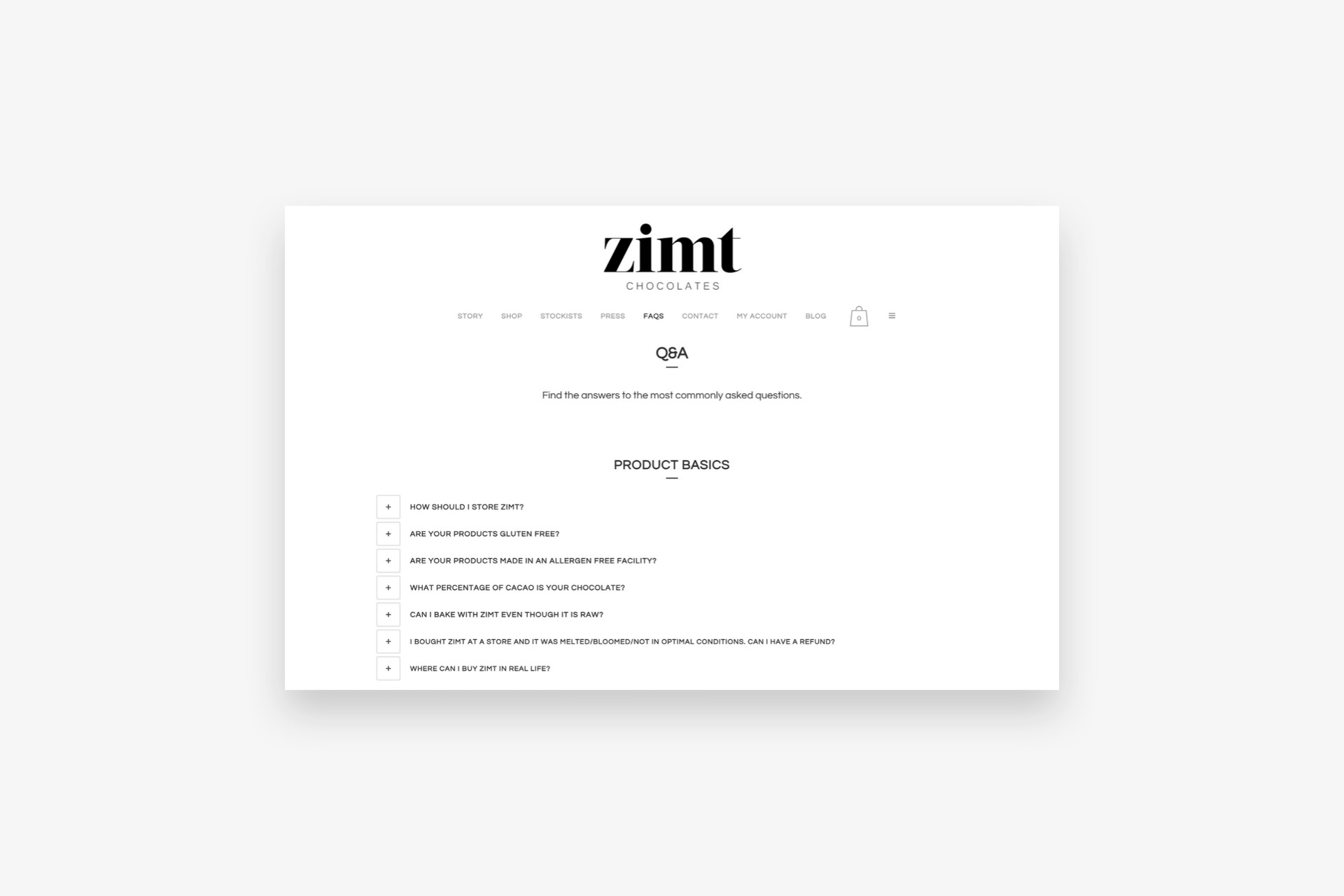 Zimt Chocolates FAQ Page