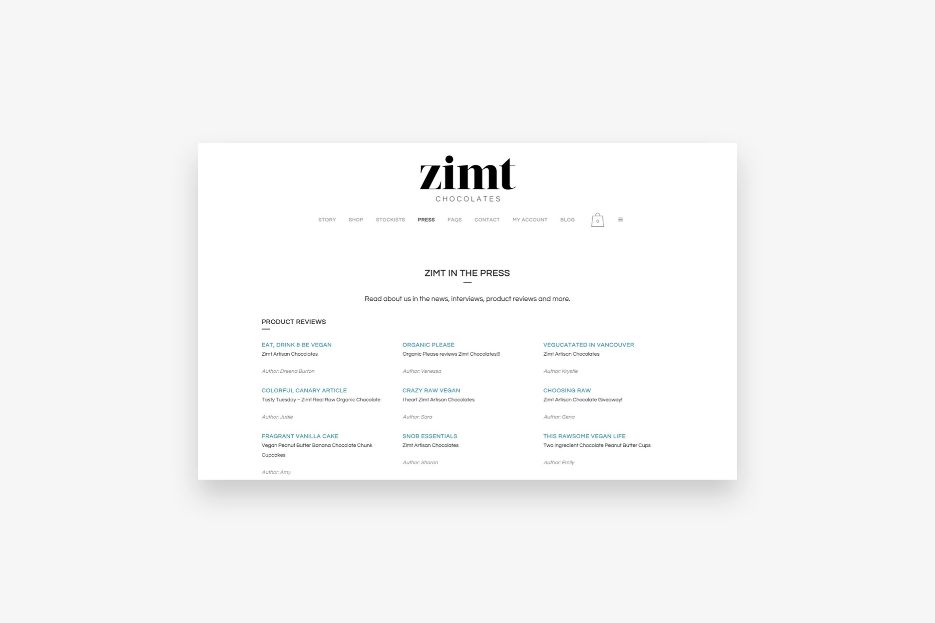 Zimt Chocolates Press Page