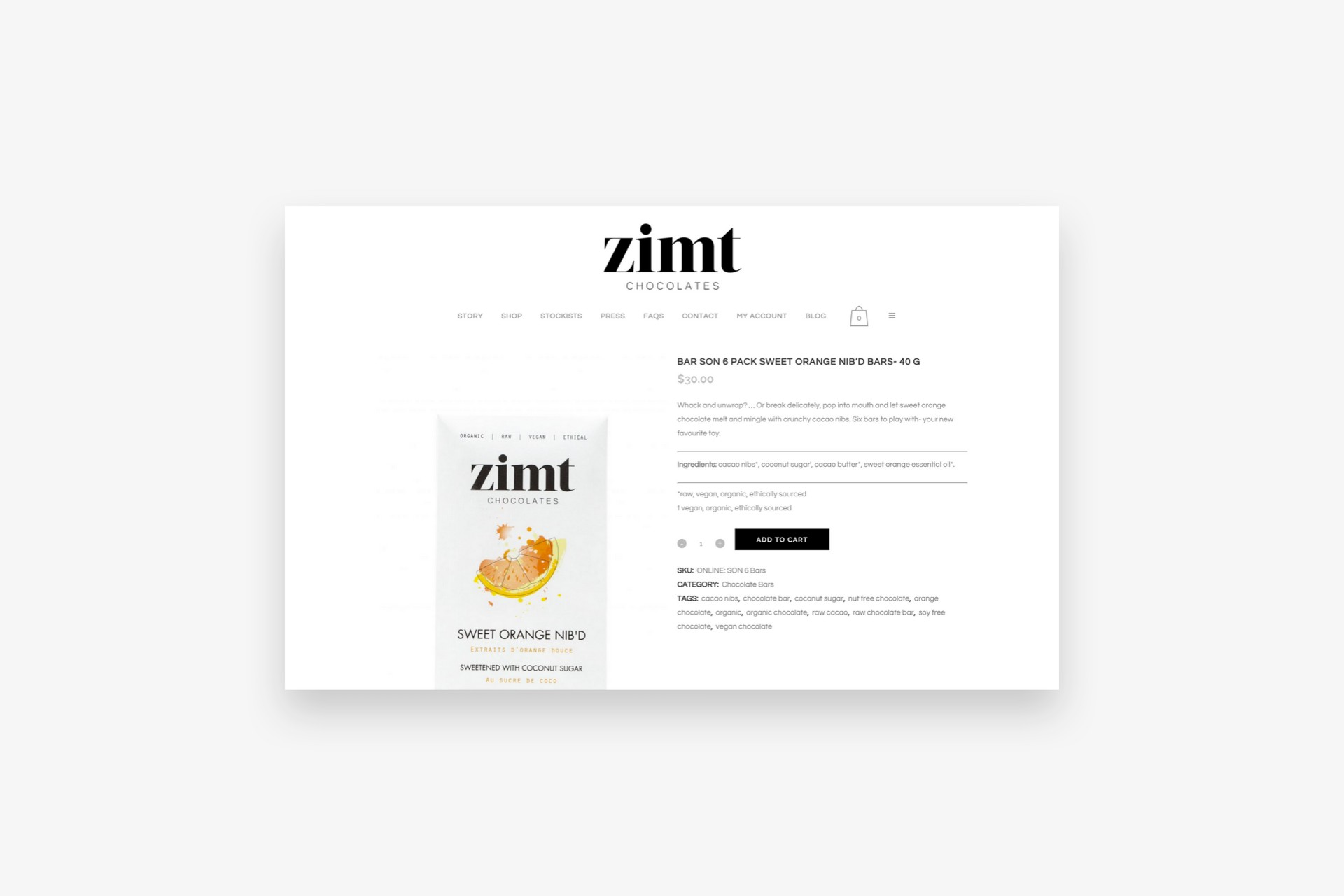 Zimt Chocolates Orange Nib Bar